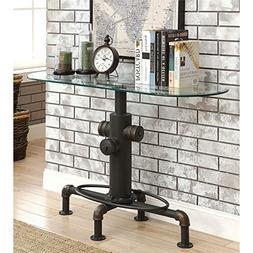 Furniture of America Lessandra Console Table in Antique Blac