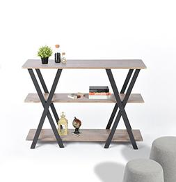 Light Brown Finish Shelves / Metal X-Frame 3-tier Console So