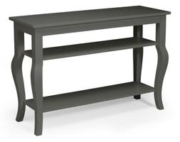 Lillian Wood Console Table with Curved Legs and Two Shelves