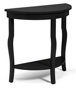 Kate and Laurel Lillian Wood Half Moon Console Table Curved