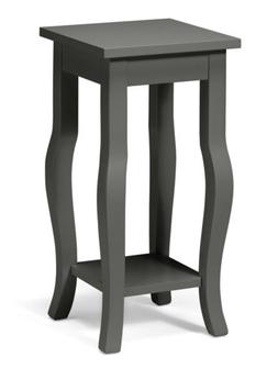 Lillian Wood Pedestal End Table with Curved Legs and Shelf b