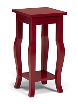 Kate and Laurel Lillian Wood Pedestal End Table Curved Legs