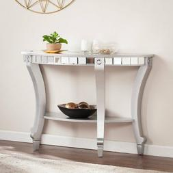 lindsay glam demilune mirrored console