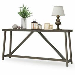 Tribesigns Long Rustic Console Bar Table Wood Brown Entryway