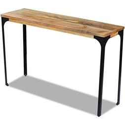 Festnight Mango Wood Console Table with Durable Steel Frame,