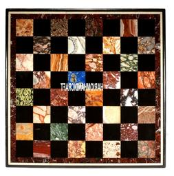 Marble Real Console Table Stone Top Inlay Multi Play Chess A
