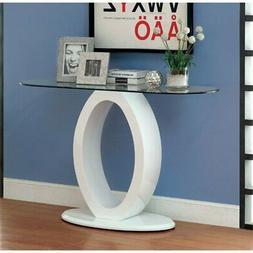 Furniture of America Mason Glass Top Console Table in White