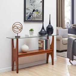 MET37071 Glass-Top CONSOLE Table - Midcentury Modern Style