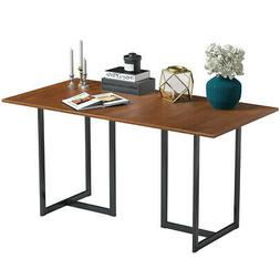 """Metal Frame 60"""" Console Dining Table Wood Tabletop  Durable"""