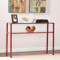 Metal and Glass Console Table in Red Finish