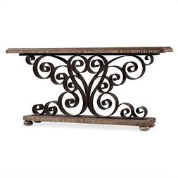 Beaumont Lane Metal Scroll Console Table in Weathered Natura