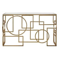 AR Lighting Metria Gold Console Table by Designer Grace Feyo