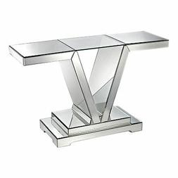 mirrored Console Table With Clear Glass Top