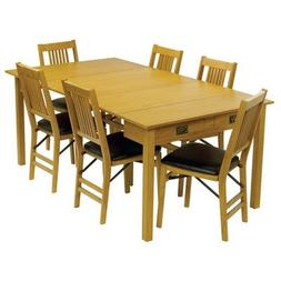 Mission Style Expanding Dining Table in Warm Oak Finish