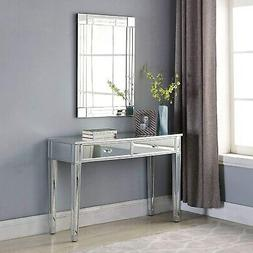 Modern 2-Drawers Mirrored Console Table Silver Bedroom Vanit