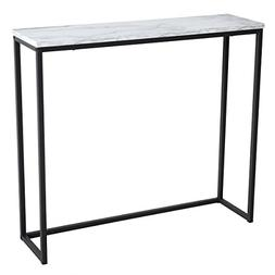 Tilly Lin Modern Accent Faux Marble Console Table, Black Met