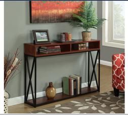 Modern Cherry Wood Console Table Behind Sofa Accent Metal St