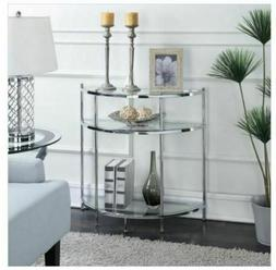 Modern Chrome Console Table Glass Half Moon Entry Glam Metal