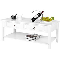 HOMFA Modern Coffee Table Console Desk with Storage and Shel