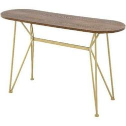 Modern Console Hallway Table Brown Wood Gold Metal Entry Sma
