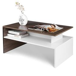 HOMFA Modern Console Table Coffee Table 2-tier Rectangular S