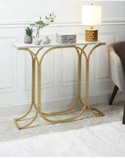Modern Console Table Faux Marble Gold Contemporary Slim Entr