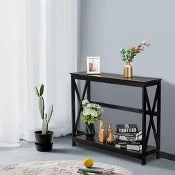 Modern Wood Console Table Sofa Accent with Shelf Stand Entry