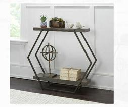Modern Contemporary Console Table Slim Metal Industrial Wood