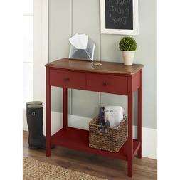 Modern Farmohuse Painted Red Console Table Curved Wood Top F