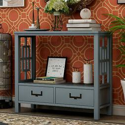 Modern Fashion Console Table with Two Bottom Drawers,Easy To