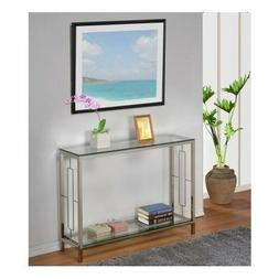 Modern Glass Console Table Furniture Accent Chrome Entryway