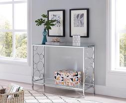 Modern Glass Console Table Furniture Accent Entryway Chrome