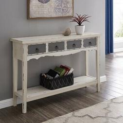 Modern Living Room 2 Drawer Rectangular Console Table in Dis