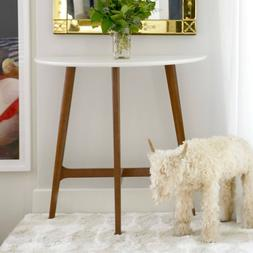 Modern Mid Century Console Sofa Table White Top High Sheen W