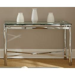 Modern Style Natal Chrome Tempered Glass Top Sofa Table Cons