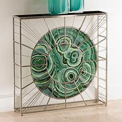 Modern Radial Sunburst Console Table | Malachite Green Agate