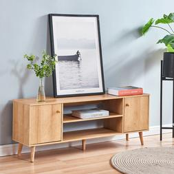 Modern TV Stand Console Table w/ Cabinet Shelf Spacious Stor