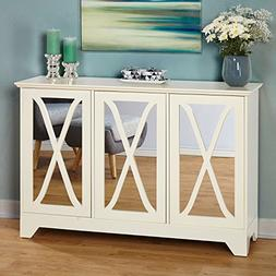 Modern Vintage 3 Mirrored Door Buffet Console Table with Adj