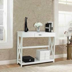 modern white finish entry hall console table