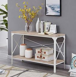 Homissue Modern Style White Sofa Table with Storage Shelf, 2