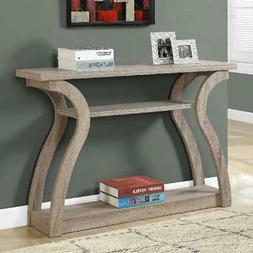 """Monarch Accent Table 47""""L / Dark Taupe Hall Console 3-tiered"""