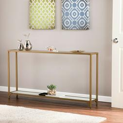 Narrow Console Table Glass Top Glam Gold Sofa Entry Accent F