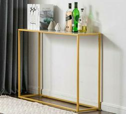 Narrow Console Table Gold Slim Small Faux Marble Top Glam Mo