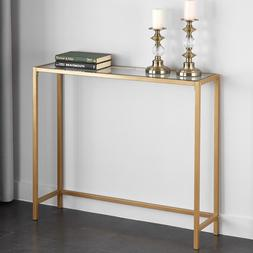 Narrow Console Table Gold Slim Small Glass Top Glam Modern M