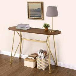 Narrow Oval Console Table Wood Gold Metal Multifunctional De