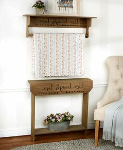 NATURAL Live Laugh Love Farmhouse Wooden Console Table Quilt