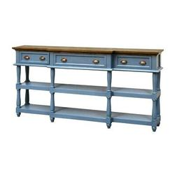 """NEW 72"""" FRENCH BLUE MAHOGANY WOOD TOP SOFA TABLE Console HAL"""