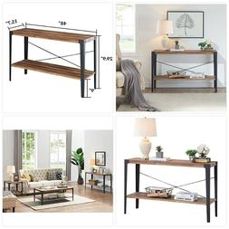 O&K Furniture Industrial Rustic 2-Tier Occasional Console So
