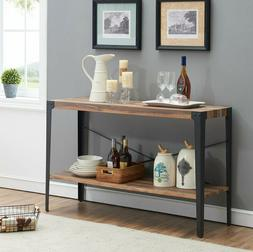 OK Furniture Industrial Rustic 2-Tier Occasional Console Sof