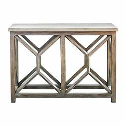 Open Light Weathered Wood Console Table | Stone Top X Natura